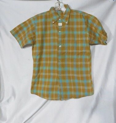 Vintage Shirt 50s Button Down Collar Cotton Rockabilly NOS Plaid Teen Boys