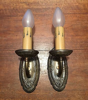 Wired Matched Pair Brass Wall Sconce Fixtures Antique Vintage 3B