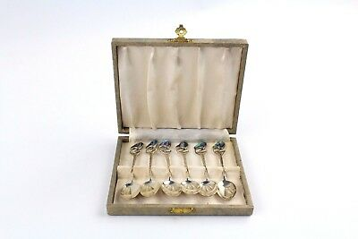 Collection of 6 x .925 STERLING SILVER Spoons With PAUA SHELL - CASED - 58g