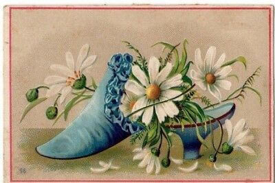 1800's Victorian - Shoe Filled With Daisies / Flowers - Trade Card