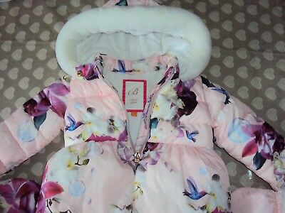 Baker by Ted Baker Baby Girls' Pink Padded Coat & Mittens Set 12-18 Months