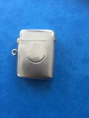 Silver Vesta Case Victorian Engine Turned D&F Birmingham 1896