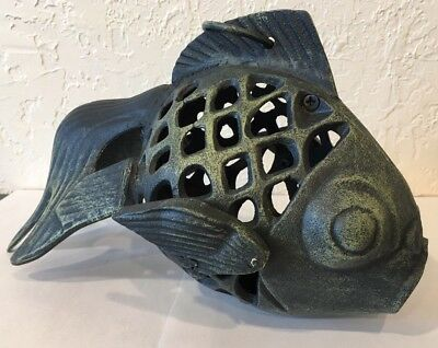 Cast Iron Tea Ceremony Chinese Garden Koi Fish LANTERN Japanese Oriental Lamp