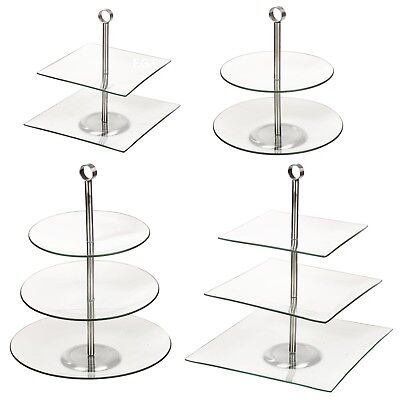 2 3 Glass Tiered Pastry Pie Wedding Cake Platform Cupcake Stand Tier Plates NEW