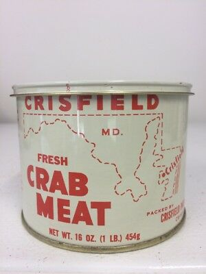 Crisfield MD FRESH Crabmeat Tin Can Not Oyster With Matching Lid