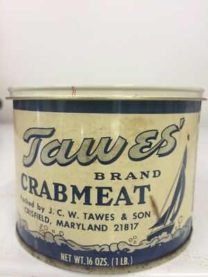 Tawes Brand Crabmeat Tin Can Not Oyster Crisfield MD 198-C 16oz