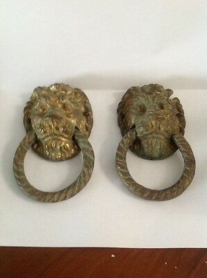 Pair Antique Cast Brass Door Knocker Lions Head Architectural Reclaimed Lovely