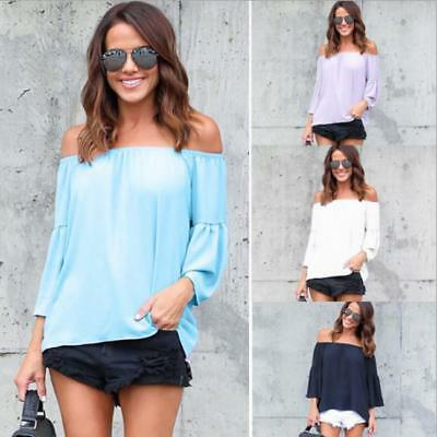 Womens Off The Shoulder Casual Blouse Ladies T Shirt Tops 3/4 Sleeve Summer LD