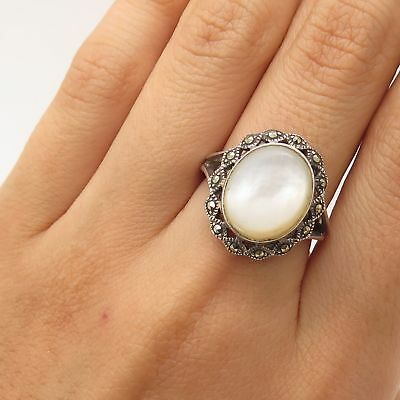 925 Sterling Silver Real Marcasite Gem Mother-Of-Pearl Ring Size 7 1/4