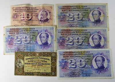 Lot Of 6 - Switzerland Currency From 20Th Century - Vf/xf
