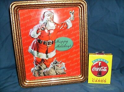 Coca Cola Red Santa Christmas Tin And Deck Of Cards