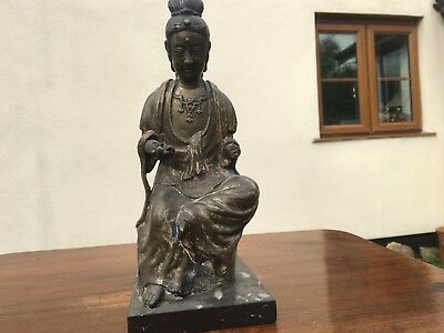 Superb Chinese Ming Dynasty Polychrome Bronze Figure Guanyin Buddha