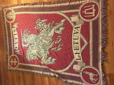 Antique LITHUANIA LIETUVA floor rug or wall hanger — Medieval