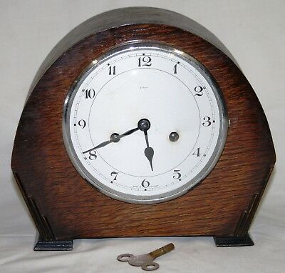 Antique Enfield 8 Day Chiming Oak Cased Mantel Clock Fully Working with its Key