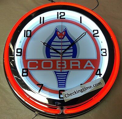 "Shelby Cobra Mustang GT350 GT500KR 19"" Double Neon Clock Chrome or Carbon Fiber"