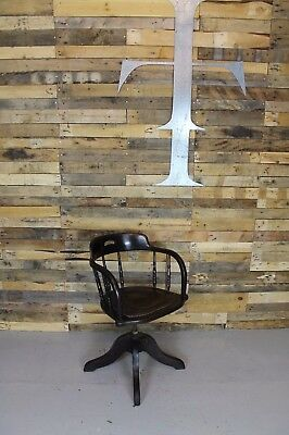 Vintage Industrial Antique Swivel Captains Oak Desk Chair