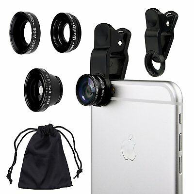 Universal 3 in1 Fish Eye + Wide Angle + Macro Camera Clip-on Lens for Phone HQ