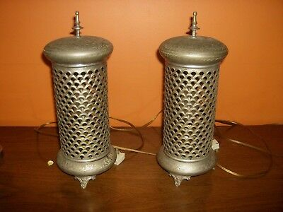 Fantastic Pair Of Moroccan Pierced Brass Bedroom Lamps