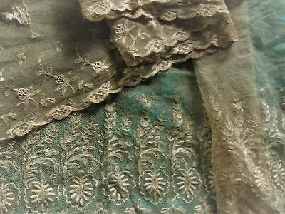 2 Beautiful Tambour antique lace French net trim embroidered lot