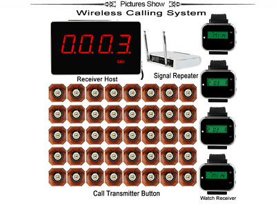 Wireless Calling System with Receiver +4pcs Watch Wrist Receiver X 40 Buttons