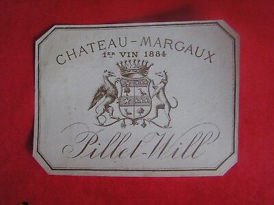 Etiquette Chateau Margaux 1884 Pillet Will Decollee - Wine Label