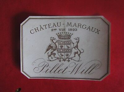 Etiquette Chateau Margaux 1893 Pillet Will Decollee - Wine Label