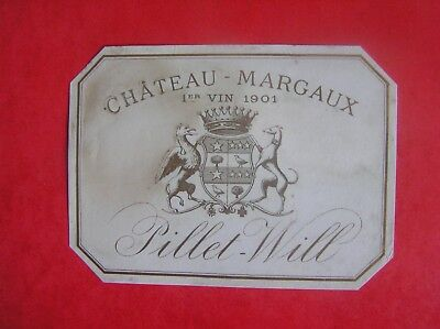 Etiquette Chateau Margaux 1901 Pillet Will Decollee - Wine Label