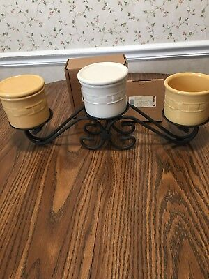 Longaberger Wrought Iron 3Tier Candle Holder/Stand/Pedstal With 3 Pottery Crocks