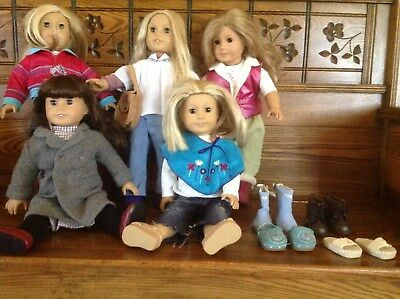 HUGE Lot of 5 American Girl Doll Pleasant company dolls, clothed & extra shoes