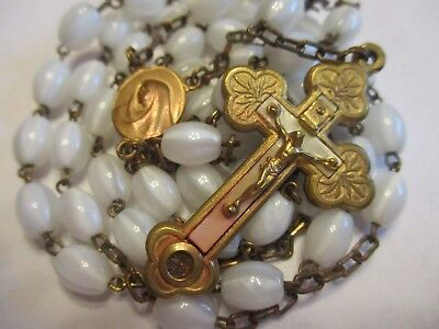 Vintage Antique White Glass & Brass Relic Rosary Mary Religious Medal Lot # B-4