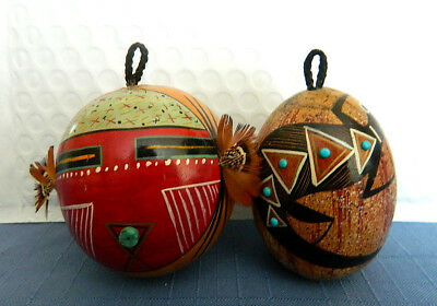 2 Signed and Dated ROBERT RIVERA Hand Painted Gourd Ornament(s)