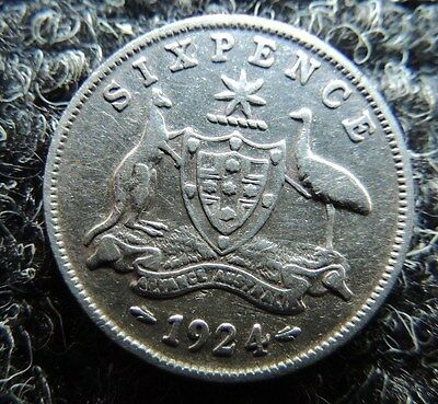 AUSTRAILIA    1924      SILVER      6 Pence       KM-25        AWESOME   COIN