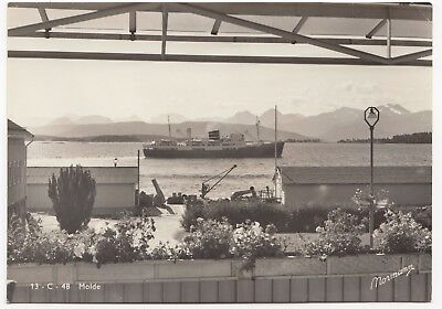 Norway, Romsdal; Molde RP PPC, Shows Docks & Cargo Vessel, Unpposted c 1950's