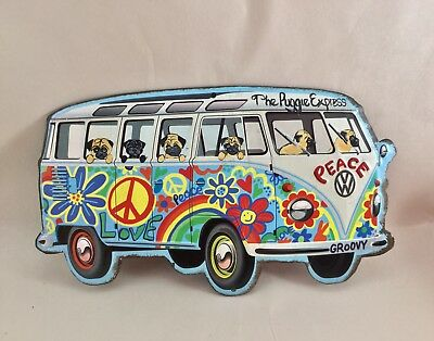 """Tin sign Hippie Bus filled with hand painted Pugs!  """" The Puggie Express"""""""