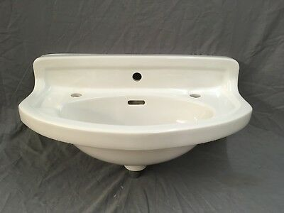 Antique White Porcelain Half Round Powder Bath room Sink Old Vtg Tiffin 679-17E
