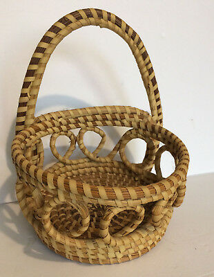 Vtg. Sweetgrass Basket Wall Pocket Loops Gullah Charleston Folk Art Genuine