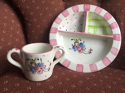Child's Ceramic Divided Plate and 2 Handled Cup Pink Fairy Motif