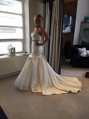 Stunning Bespoke Cristiano Lucci Ivory Wedding Gown & Headdress Size 10-12