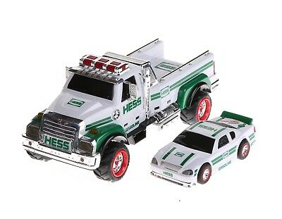 2011 White Green Hess tow Truck and Car & Box Lights Sound flat bed pickup