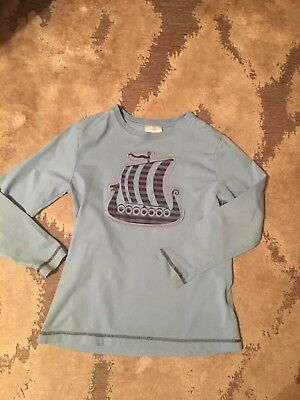 Hanna Andersson Shirt Top Boys 130 7 8 Pirate Ship Blue Long Sleeve