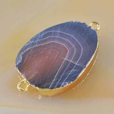 Botswana Agate Connector Gold Plated T032029
