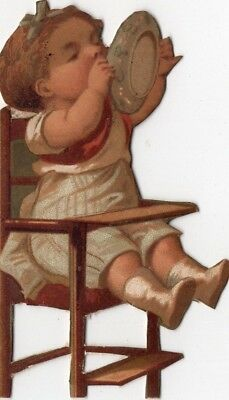 1800's Victorian - 4 Inch Girl In High Chair Diecut - Scrapbook Trade Card