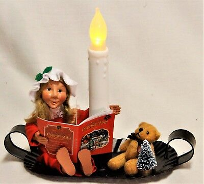 Byers Choice Night Before Christmas Toddler on Candle Tray with Candle -New 2017