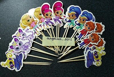 12 x Shimmer and Shine Cake Picks / Cupcake Toppers Birthday Cake Flags #Doll 24