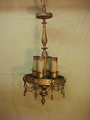 Antique Victorian 1900's Bronze Chandelier Light Fixture Estate Restore