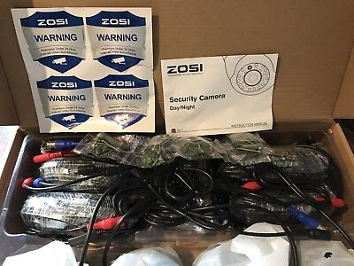 """ZOSI 4 Pack 1/3"""" 960H Colorful Night Vision Dome CCTV Cameras"""