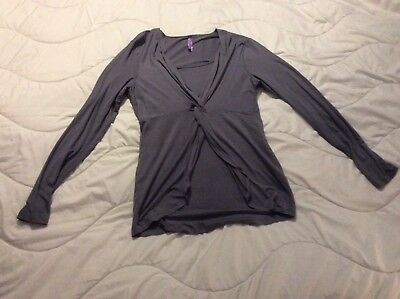 Seraphine Grey Knot Front Long Sleeved Maternity Top Size 10