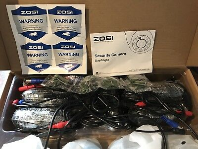 """ZOSI 4 Pack 1/3"""" 4.6mm 800TVL 960H Colorful Night Vision Dome CCTV Cameras"""