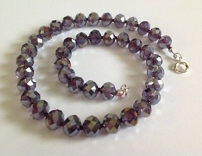Beautiful  Amethyst Glass Faceted Necklace