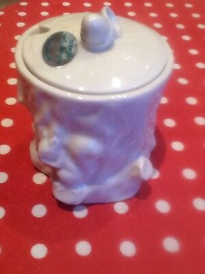 Donegal irish Parian Beleek china sugar honey jam pot 1086 squirrel